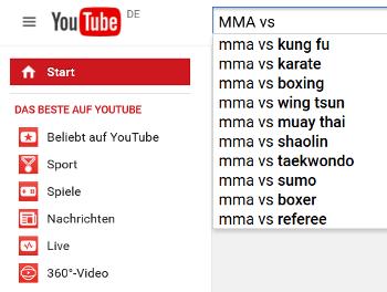 """Youtube-Vorschläge zu """"MMA vs"""""""